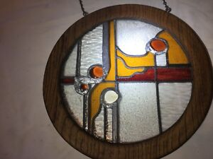 Vintage Leaded Stained Glass Panel In A Circular Wooden Frame Hand Made 14 1 2