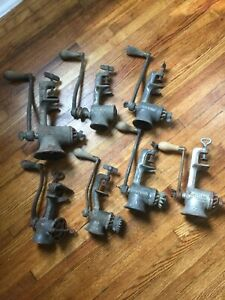 7 Vintage Universal No 0 1 2 3 Food Meat Grinder Chopper With Hand Crank Table
