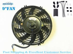 9 Inch Fan Universal Electric Radiator Cooling Slim Push Pull Mounting Kit 12v