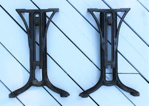 Antique Industrial Chandler The Boston Cast Iron Table Legs Adjustable Old Vtg