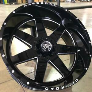 4 New Hardcore Hc14 44mm 24x12 Gloss Black Milled 8x6 5 8x165 1 Dodge Chevy