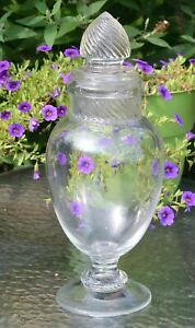 Antique Vintage 15 Glass Apothecary Drug Store Jar With Swirl Lid Candy