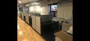 36 x62 Knoll Partitions 5 Total W Glass Accent 4 Cubicles 1 Stand Alone