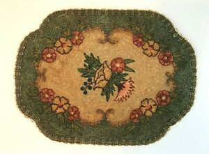 Antique Heavy Silk Embroidery French Knot Tapestry Floral Doily Punch Needle