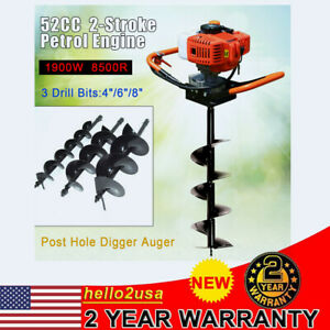 52cc 2hp Gas Post Earth Digger Auger Hole Borer Ground Drill W 4 6 8 Bits