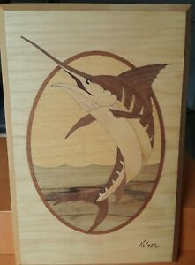 Hand Carved Wooden Swordfish Wall Mount By Nelson