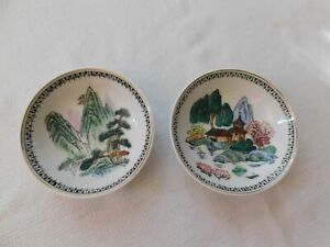 Pair Of Antique Chinese Hand Painted Porcelain Wall Hanging Plate 4