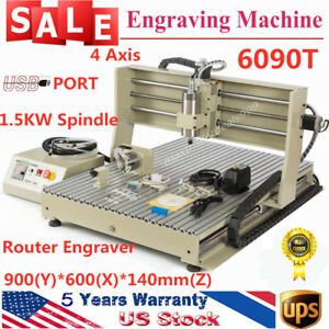 4axis Cnc 6090 Router Engraver Engraving Milling Machine 1 5kw Vfd Cutting Usb