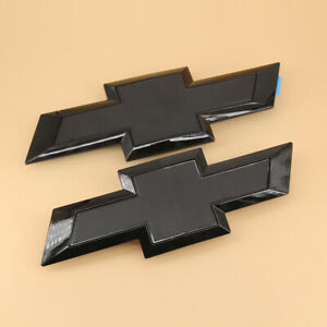 Gloss Black Front Tailgate Bowtie Emblem For Chevy Silverado 1500