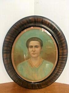 Vintage Wooden Oval Picture Oval Glass Original Old Picture With Lady 21 X 24