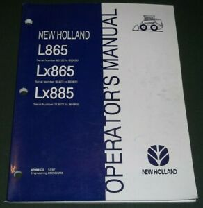 New Holland L865 Lx865 Lx885 Skid Steer Operator Operation Maintenance Manual