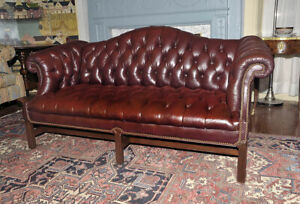 Vintage English Oxblood Leather Chippendale Camel Back Chesterfield Sofa Couch