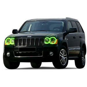 For Jeep Grand Cherokee 05 10 Green Led Halo Kit For Headlights