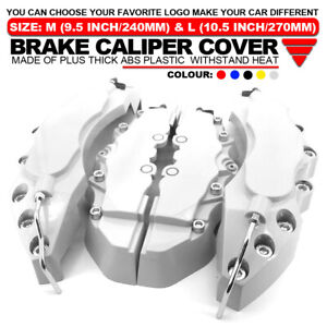 4x Brake Caliper Covers Universal Car Style Disc Silver Front Rear Kits L M Wl04