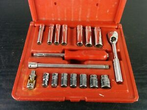 Ad934 Mac Tools 1 4 Drive Sae Ratchet 6 Point Socket Set W Hard Case 18 Pieces