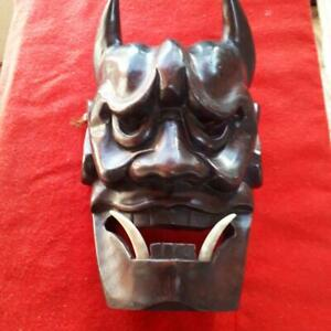 Japan Antique Wooden Hannya Oni Demon Big Omen Mask Vintage Sagemono