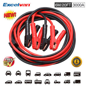 20ft 3000a Booster Jumping Cable Jumper Cables For Car Battery Zipped Carry Case
