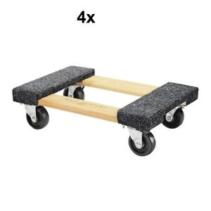 4 four 18 In X 12 In 1000 Lbs Capacity Hardwood Moving Dolly Heavy Duty
