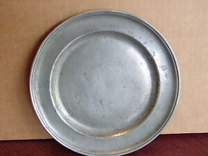 Antique American 18th Century Pewter Plate 8 W Makers Marks Owners Initials