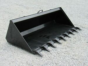 84 Low Profile Tooth Dirt Bucket Attachment Fits Skid Steer Loader Quick Attach