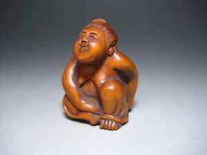 Laughing Woman Man Netsuke Sagemono Ojime Inro Japan Vintage Antique Erotic Sumo