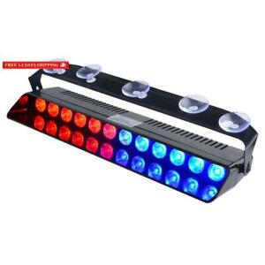 Wowtou Emergency Strobe Dash Light Blue Red 16w 12 Led With 16 Flash Patterns Fo