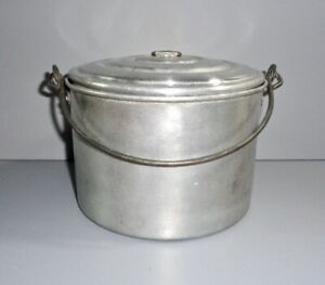Primitive Old Aluminum 2 Pc Covered Berry Bucket Storage Lunch Pail Bail Handle