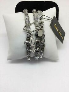 NWT Cookie Lee Set of 3 Silver amp; Gray Beaded Stretch Band Bracelets $5.59