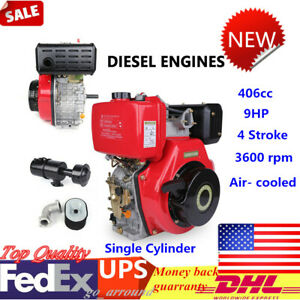 406cc 9hp Diesel Engine 4 Stroke Single Cylinder Air Cooled Recoil 3600 Rpm