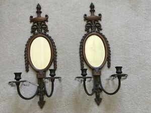 1940 S Pr Brass Candle Holder Wall Sconces W Beveled Glass Mirrors And Crystals