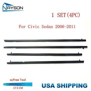 4pc Window Molding Trim Sill Seal Belt External For Honda Civic Sedan 2006 2011