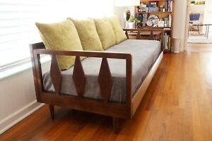 Mid Century Couch With Trundle Bed Vintage Daybed Wood Frame Sofa Danish Modern