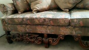 Vintage Antique Large Sofa With Carved Angels Wood Trim Matching Arm Chair