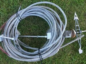 80 Feet Vintage Antique Braided Lightning Rod Ground Cable Wire With Rods