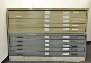 Lot Of Two Safco Steel Flat File Cabinets Model 4998 For 36 X 48 Documents