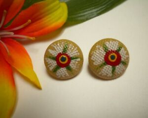 Antique China 2 Pc Inserted Self Shank Twiss Grid Top Buttons With Paint Flower