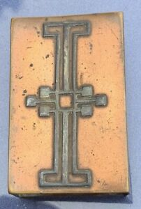 Antique Arts And Crafts Sterling Silver On Bronze Deco Matchbox
