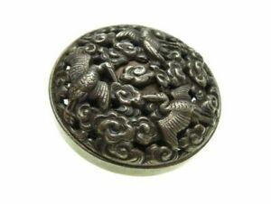Meiji Period Japan Antique Sold Silver Dragon Netsuke Sagemono Vintage Ojime