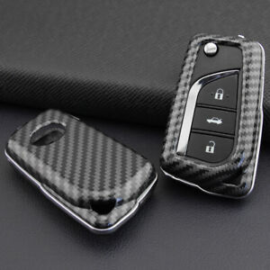 Carbon Fiber Flip Key Case Hard Shell Cover Accessories For Toyota Camry C Hr