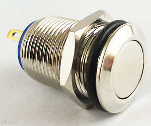 50pcs Metal Flat Top Push Button Momentary Horn Waterproof Switch 12mm Qn12 b1