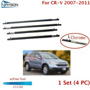 4x Window Weatherstrip Sweeps Molding Trim Outer For Honda Cr v Crv 2007 2011