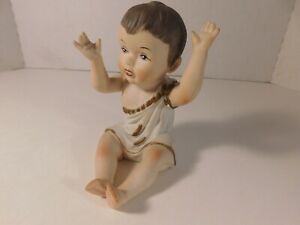 Vintage Bisque Piano Baby Figurine 5 Inches Tall Unmarked