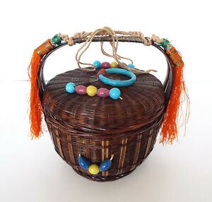 Vintage Asian Handled Sewing Basket Peking Beads Ring Tassels Woven Chinese