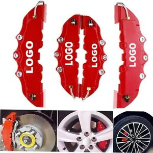 Universal 4pcs Disc Brake Caliper Covers Abs Red 3d Style Front Rear Car Truck