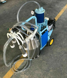 Piston Milker Electric Stainless Steel Bucket Cows Goats Farm Milk Machine