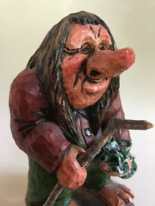 Vintage Hand Carved Wooden Troll Gnome With Walking Stick Signed By Torberg