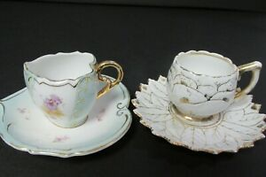 2 Antique China Tea Cups Saucers Victorian Heart Shaped