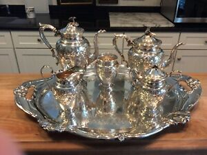Hirsch Sterling Silver 5 Piece Tea Coffee Set And Tray
