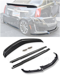 For 16 19 Cadillac Cts V Carbon Fiber Package Front Lip Side Skirts Rear Spoiler