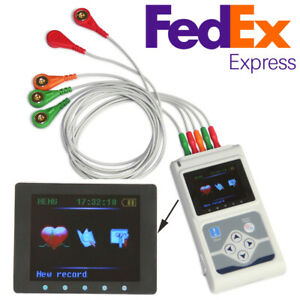 Contec 3 Channel Leads Ecg ekg Holter Monitor Heart Disease Cardiology Analyzer